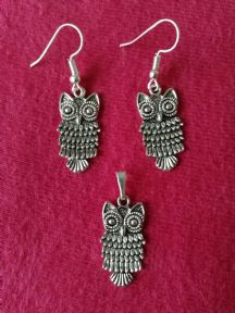 Owl Earrings and Pendant (small)